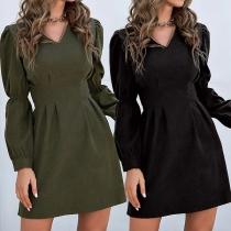 Elegant Solid Color Puff Sleeve V-neck High Waist Slim Fit Dress