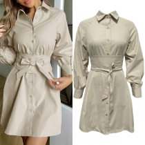 OL Style Long Sleeve POLO Collar Single-breasted Lace-up Shirt Dress