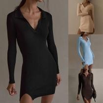 Sexy V-neck SLit Hem Long Sleeve Solid Color Slim Fit Dress