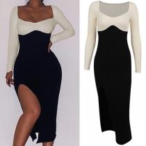 Sexy Square Collar Slit Hem Long Sleeve Slim Fit Contrast Color Dress