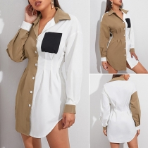 Fashion Contrast Color Long Sleeve POLO Collar Single-breasted Shirt Dress