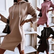Casual Style Long Sleeve Slit Hem Solid Color Hooded Sweatshirt Dress