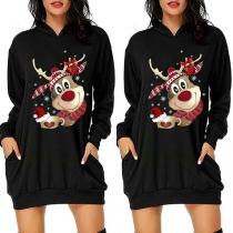 Cute Reindeer Printed Long Sleeve Hooded Christmas Sweatshirt Dress