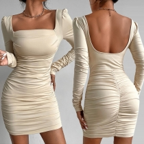 Sexy Backless Square Collar Long Sleeve Solid Color Slim Fit Wrinkled Dress