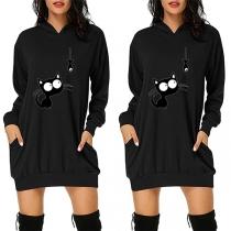 Cute Black Cat Pattern Long Sleeve Hooded Sweatshirt Dress