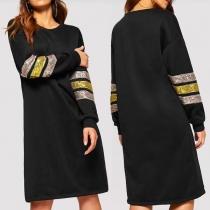 Fashion Sequin Spliced Long Sleeve Hooded Sweatshirt Dress