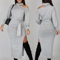 Sexy Off-shoulder Long Sleeve Slit Hem Solid Color Slim Fit Knit Dress