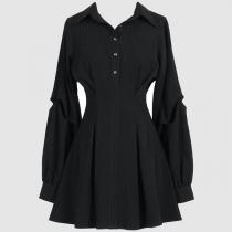 OL Style Long Sleeve POLO Collar High Waist Black Shirt Dress