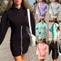 Fashion Solid Color Long Sleeve Hooded Front-zipper Sweatshirt Dress