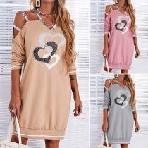 Sexy Off-shoulder Long Sleeve V-neck Heart Pattern Sequin Spliced Sweatshirt Dress