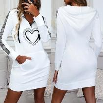 Casual Style Long Sleeve Heart printed Slim Fit Sweatshirt Dress