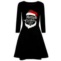 Cute Style Long Sleeve Round Neck Christmas Printed A-line Dress