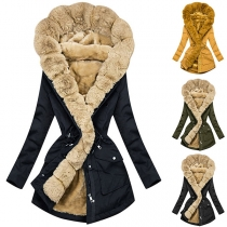 Fashion Solid Color Faux Fur Collar Long Sleeve Hooded Padded Coat
