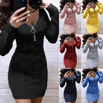 Fashion Zipper V-neck Long Sleeve Solid Color Slim Fit Knit Sweater Dress