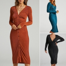 Sexy V-neck Long Sleeve Single-breasted Slim Fit Wrinkled Dress