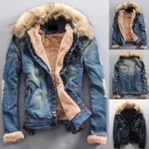 Fashion Faux Fur Spliced Hooded Long Sleeve Plush Lining Denim Coat