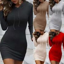 Simple Style Long Sleeve Hooded Slim Fit Sweatshirt Dress