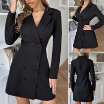 OL Style Long Sleeve Double-breasted Solid Color Slim Fit Suit Dress