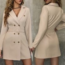 OL Style Long Sleeve Double-breasted Slim Fit Suit Blazzer Dress with Waist Band