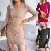 Simple Style Long Sleeve Round Neck Solid Color Side-drawstring Slim Fit Dress