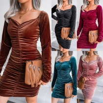 Sexy Square Collar Long Sleeve Solid Color Slim Fit Wrinkled Dress