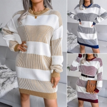 Casual Style Long Sleeve Round Neck Loose Stripe Knit Dress