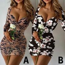Sexy Deep V-neck Long Sleeve Slim Fit Printed Dress