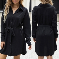 OL Style Long Sleeve POLO Collar Solid Color Tie-belt Shirt Dress