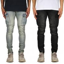 Fashion Middle Waist Side-pocket Man's Faded Jeans