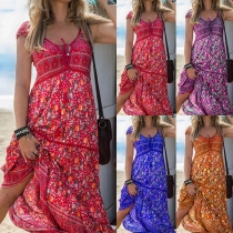 Bohemian Style Short Sleeve V-neck High Waist Printed Maxi Dress