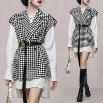 OL Style Long Sleeve High-low Hem Shirt Dress + Houndstooth Vest Two-piece Set