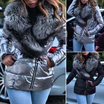 Fashion Faux Fur Collar Long Sleeve Oblique Zipper Padded Coat