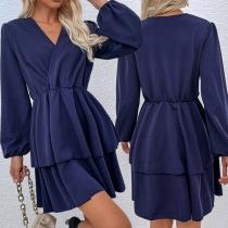 Sexy V-neck Lantern Sleeve High Waist Dual-layer Hem Solid Color Dress