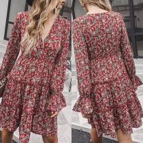 Fresh Style Puff Sleeve V-neck Ruffle Hem Printed Dress