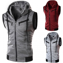 Casual Style Sleeveless Hooded Contrast Color Man's Vest