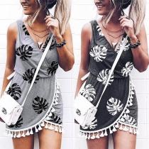 Fashion Sleeveless V-neck Tassel Spliced Hem Printed Dress