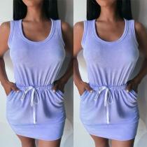 Simple Style SLeeveless Round Neck Drawstring Waist Tank Dress