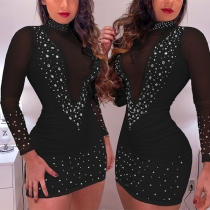 Sexy See-through Gauze Spliced Long Sleeve Mock Neck Rhinestone Tight Dress