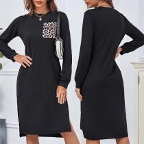 Fashion Long Sleeve Round Neck Leopard Pocket Slit Hem Loose Dress