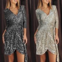 Sexy V-neck Irregular Hem 3/4 Sleeve High Waist Slim Fit Sequin Party Dress