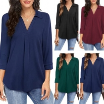 Fashion 3/4 Sleeve V-neck Solid Color Loose Blouse Top