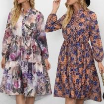 Fresh Style Long Sleeve Stand Collar High Waist Printed Dress