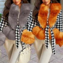 Fashion Faux Fur Collar Long Sleeve Houndstooth Coat