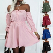 Sexy Off-shoulder Boat Neck Long Sleeve High Waist Solid Color Dress