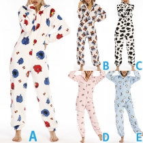 Cute Printed Long Sleeve Hooded Parent-child Jumpsuit One-piece Pajamas