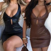 Sexy Backless Deep V-neck Solid Color Slim Fit Halter PU Leather Dress