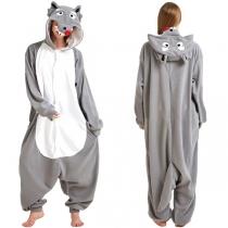 Cute Wolf Shape Long Sleeve Hooded Loose One-piece Pajama