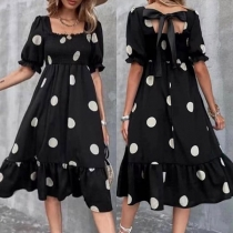 Sexy Back Lace-up Square Collar Short Sleeve High Waist Dots Printed Summer Dress