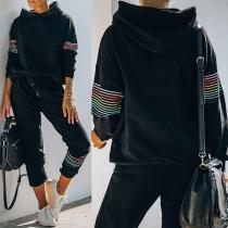 Fashion Striped Spliced Long Sleeve Hooded Sweatshirt + Pants Two-piece Set