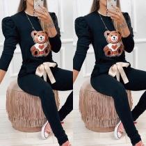 Cute Cartoon Bear Patter Long Sleeve Round Neck Sweatshirt + Pants Two-piece Set